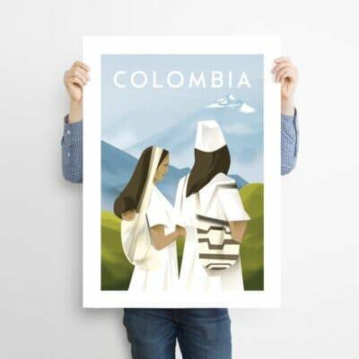 Affiche Colombie Travel Poster Illustration